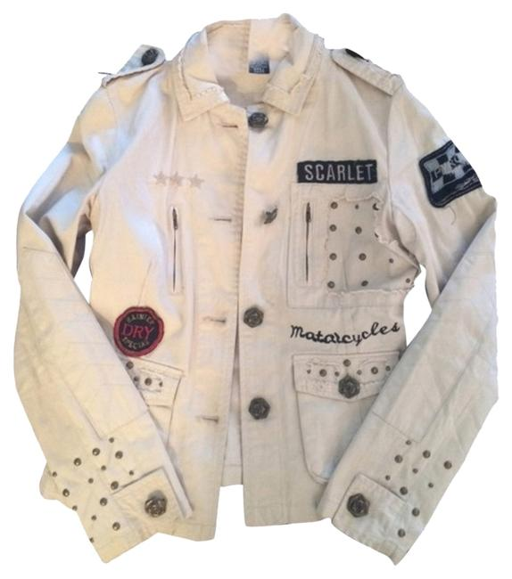 Item - Tan Military with Patch and Stud Details and Rose Embroidery On The Back. Jacket Size 4 (S)