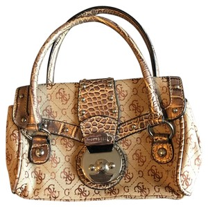 Guess Satchel in Gold Tan Brown