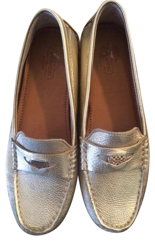 48050fad14d Coach Gold Penny Loafers Flats Size US 6 Regular (M