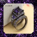 Other 6.5CT Gorgeous Purple & White Sapphire Black Gold Filled Wedding Ring Set 7, 8, 9 Image 1