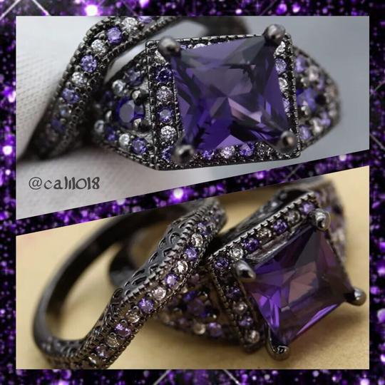 Other 6.5CT Gorgeous Purple & White Sapphire Black Gold Filled Wedding Ring Set 7, 8, 9 Image 2