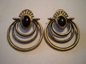 Unknown Bronze w/black stone pierced earrings