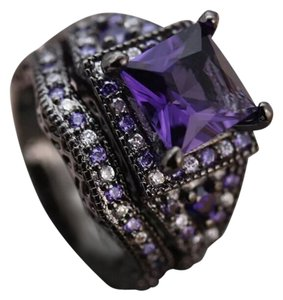 Other 6.5CT Gorgeous Purple & White Sapphire Black Gold Filled Wedding Ring Set 7, 8, 9