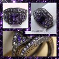 Other 6.5CT Gorgeous Purple & White Sapphire Black Gold Filled Wedding Ring Set 7, 8, 9 Image 3