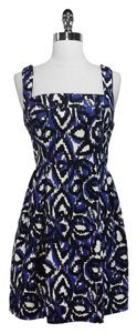 Shoshanna short dress Blue, black and white Cotton on Tradesy