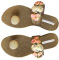 Other Synthetic Glitter Embellished Lace Trim bronze metallic Sandals Image 0