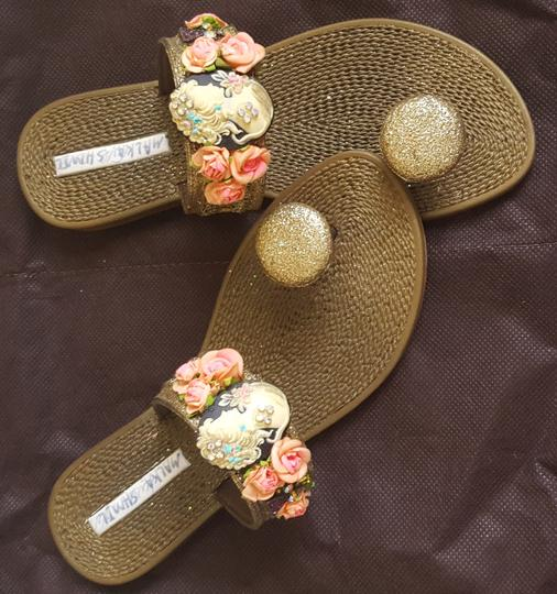 Other Synthetic Glitter Embellished Lace Trim bronze metallic Sandals Image 1