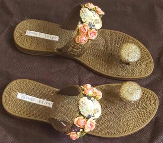 Other Synthetic Glitter Embellished Lace Trim bronze metallic Sandals Image 3