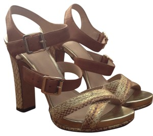 Vince Camuto Tan and metalic embossed snake Sandals