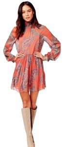 Free People short dress Coral Combo Mock Neck Paisley Print on Tradesy