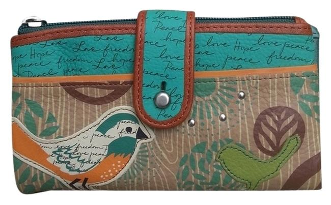 Item - Bird Peace Wallet Teal/Turquoise/Tan Vintage Soft Leather Clutch
