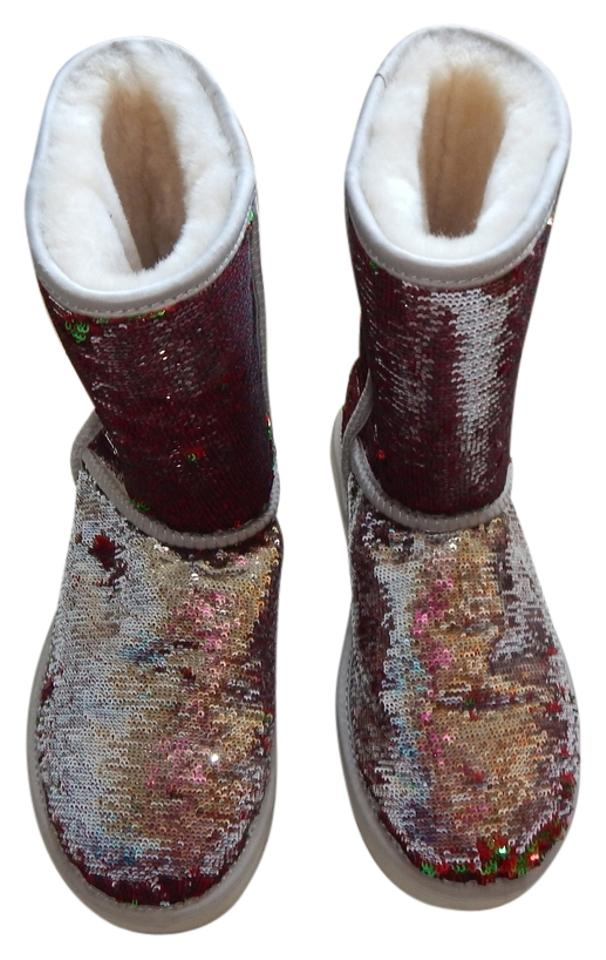 d20ffa4caca UGG Australia Sequin Red/Silver/Green Fur Sparkle Sparkle Uggs  Boots/Booties Size US 9 Regular (M, B) 47% off retail