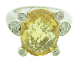 Judith Ripka Judith Ripka Sterling Silver Oval Citrine CZ Heart Accent Ring Size 7