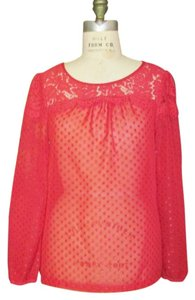 Elle Lace Chiffon Top Red