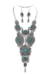 Other Boho Chic Antique Silver Turquoise Tribal Necklace Earrings