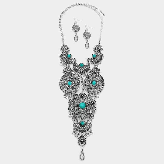 Other Boho Chic Antique Silver Turquoise Tribal Necklace Earrings Image 1