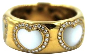 Pasquale Bruni Pasquale Bruni Diamond & Mother of Pearl Heart Ring 18 KYG Size 7
