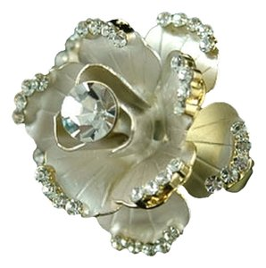 Unique 3D White Rose Flower Swarovski Crystal Ring