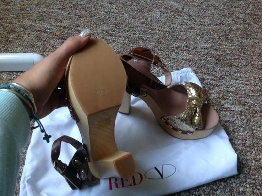 RED Valentino Brown and gold bow Platforms