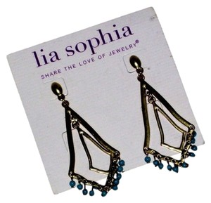 Lia Sophia New Lia Sophia Gold tone and Turquoise Beads Dangle Studs