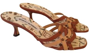 Manolo Blahnik Kitten Heels Brown Mules