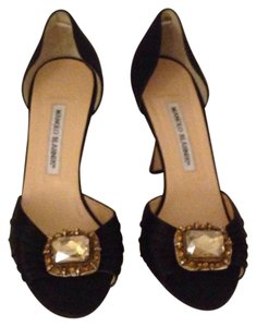 Manolo Blahnik Jeweled Heels Sedarby Brown Pumps