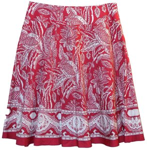 Talbots Paisley Cotton Skirt Red