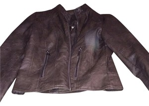 Max Jeans Distressed Brown Leather Jacket