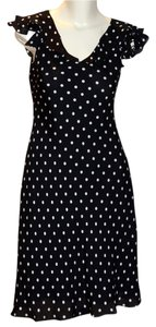 Jones New York Polka Dot Silk And Silk Ruffled Silk Silk Polka Dot Cocktail Dress