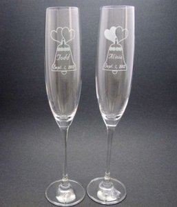 Custom Etched Crystal Toasting Flutes