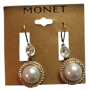 MONET Classic Style Gold Tone Pearl Look Earrings By Monet