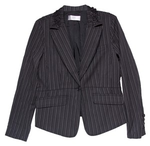 DKNY Beaded Black Pin Strip Blazer