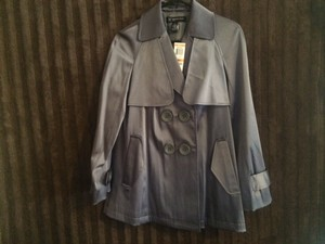 INC International Concepts Dark Silver Silver Grey Coat Jacket