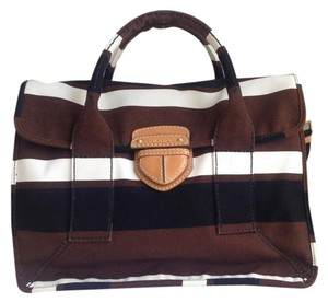 Prada Canvas Striped Tote in Cream, Tobacco, Black