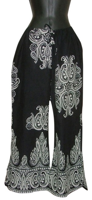 Item - Black White Paisley Boho Ethnic Highway Festival Bell New S Or M Pants Size OS (one size)