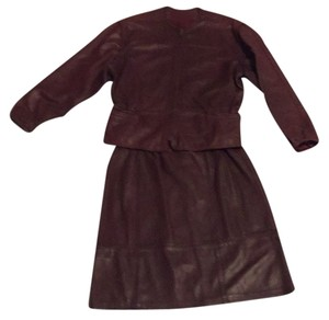 2 pc burgundy leather jacket & skirt 2pc Burgundy Leather Jacket And Skirt