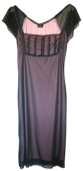Item - Black/Pink Knee Length Night Out Dress Size 6 (S)