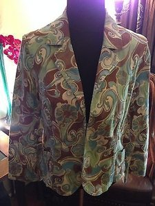 Nicole Miller Paisley Print Fitted Cotton Blend Multi-Color Jacket