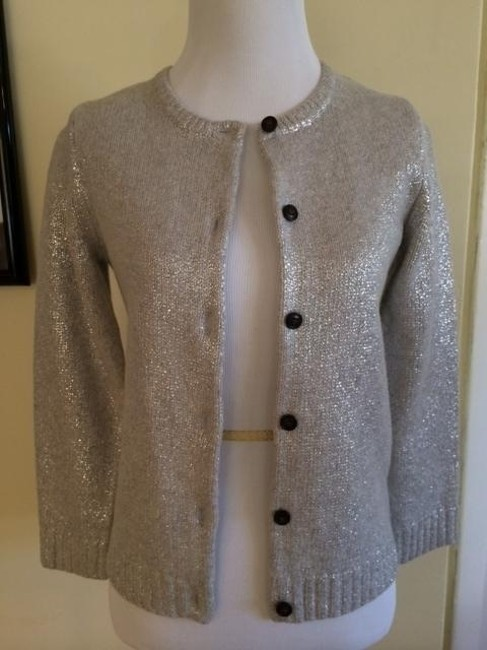 J.Crew Sparkle Cardigan Holiday Silver Sweater