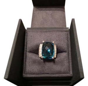 David Yurman Wheaton Collection 20mm x 15mm Hampton Blue Topaz Ring/Pave' Diamond