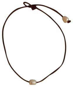 Allison Craft Allison Craft Classic Pearl And Leather Necklace