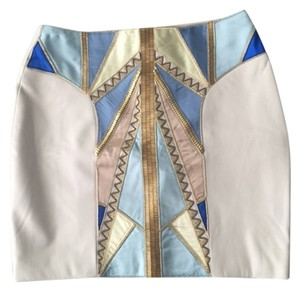 Kora Rae Leather Silk Beaded Mini Skirt Bone