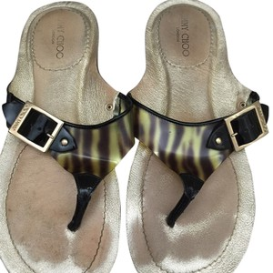 Jimmy Choo Black/gold - animal print Sandals
