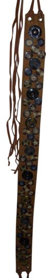 Other 70s inspired bohemian art deco suede wrap belt button embellished with fringe southwestern cowboy cowgirl boho size small