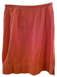 Harvé Benard Linen Skirt Orange