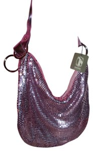 HANANEL Fun pink mesh disco hobo shoulder bag comfortable roomy day to evening bag 70s pocketbook maximum effect