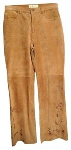 Margaret Godfrey Suede Embroidered Boot Cut Pants tan