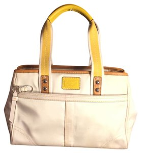 Coach Tote in Cream/Brown/Yellow