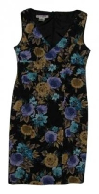 Preload https://item5.tradesy.com/images/evan-picone-purple-gold-and-turquoise-floral-on-black-background-knee-length-cocktail-dress-size-12--140399-0-0.jpg?width=400&height=650