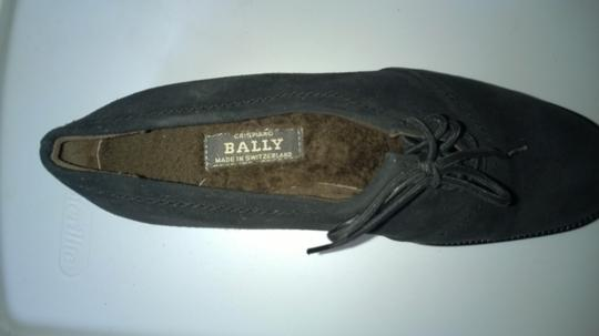Bally Black Shearling Lined Oxford Flats